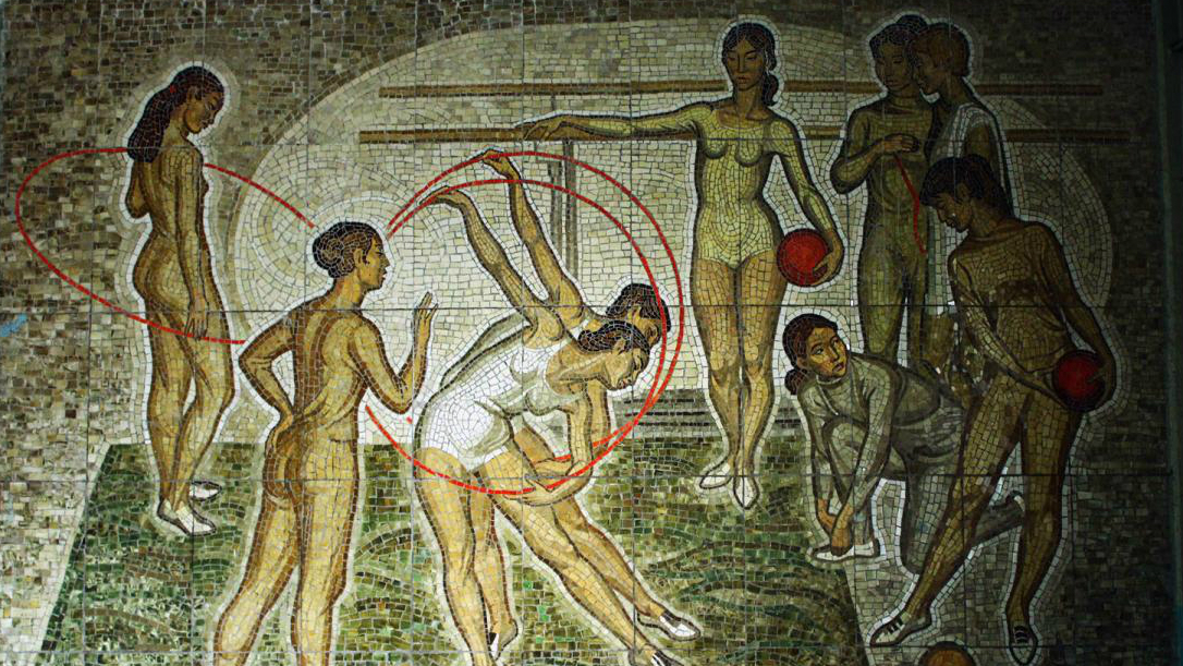 You cannot see 'Gymnasts' mosaic by Sagynbek Ishenov and Theodor Herzen now too — it is located in private area, in the building of wool and worsted factory. Photo: ShTAB
