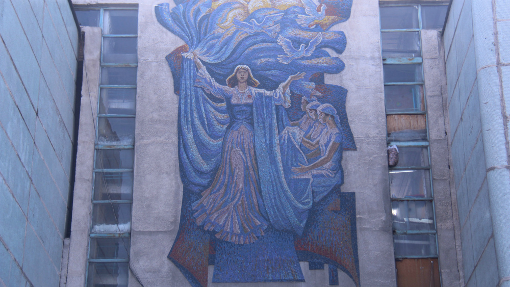 'To You, Motherland, Our Labor' by Theodor Herzen is located on Zhibek-Zholu ave.