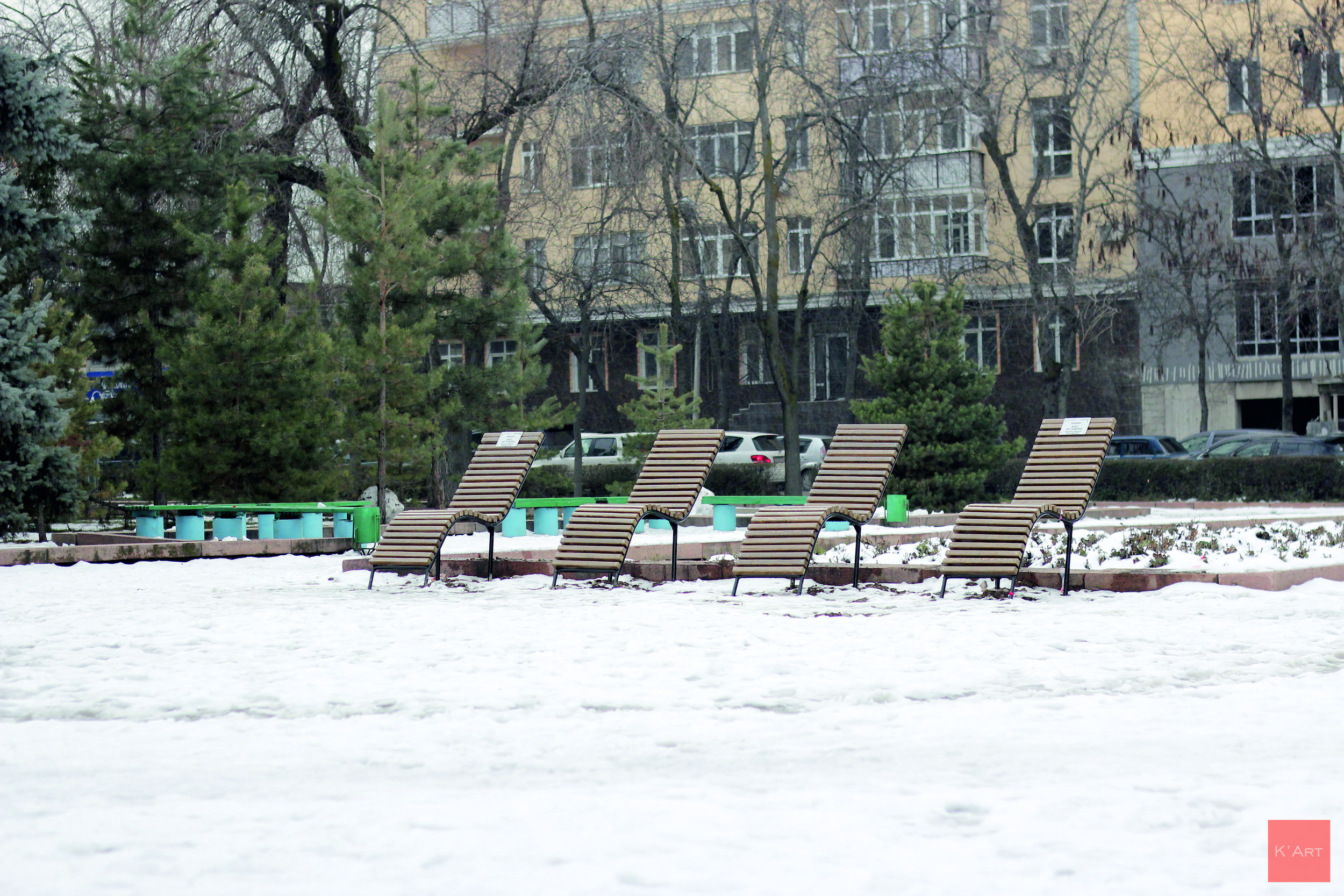 Art benches in Gorky Park