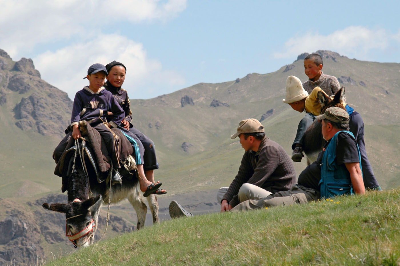 Parents often send their children to the mountain pastures for summer holidays. These guys recently came from Naryn to help their grandpa and uncle.  Photo: Azamat Imanaliev