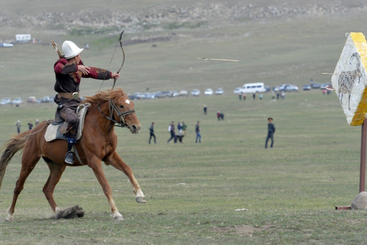 - Archers hit three targets while riding from horseback. A first target is in front of a rider, a second is on the side, and to hit a third target archers must shoot turning back. According to the rules, athletes compete in national clothes and on bareback horses.