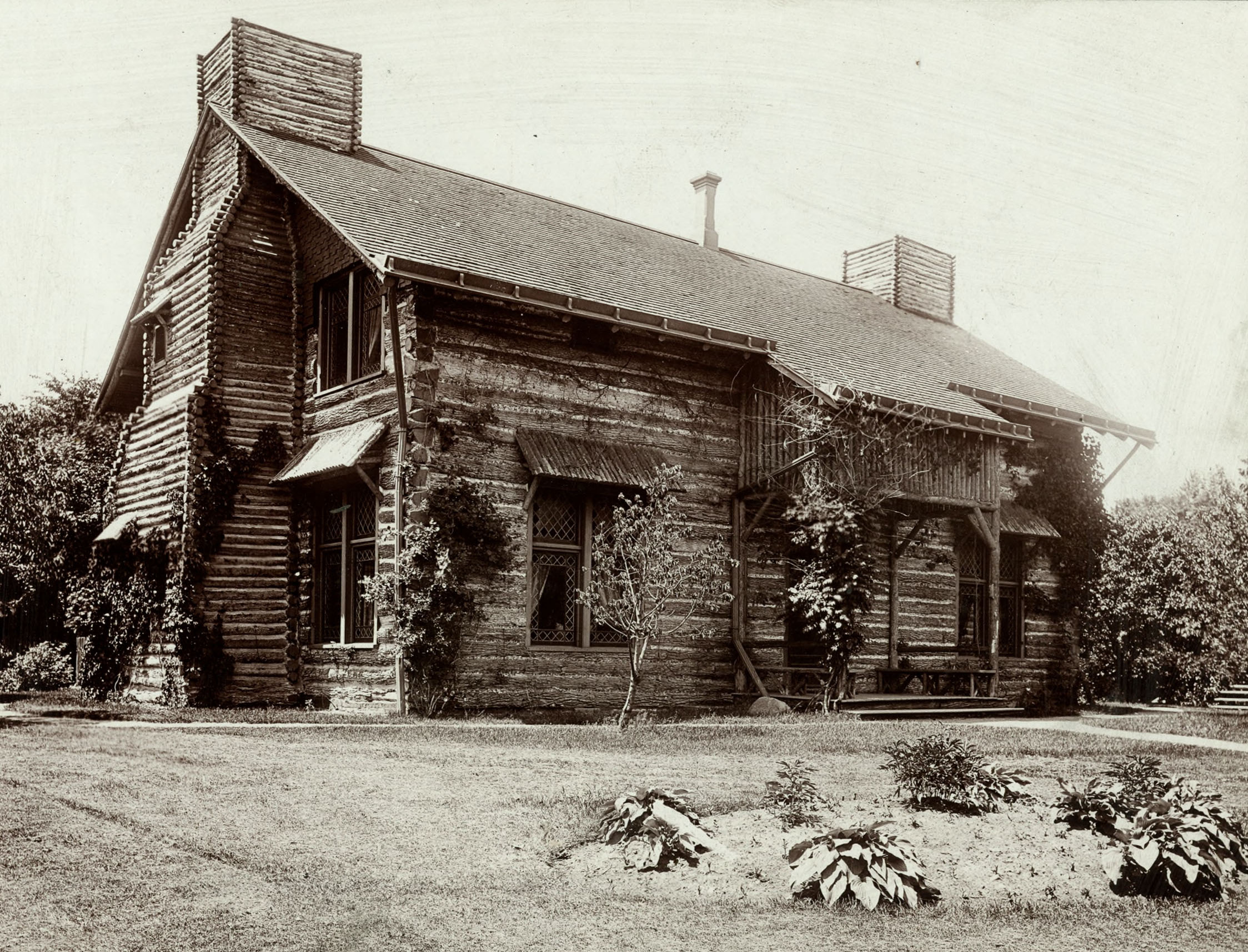 The Palmer Park Log Cabin, as it looked circa 1896.  Photograph courtesy of the Burton Historical Collection, Detroit Public Library.
