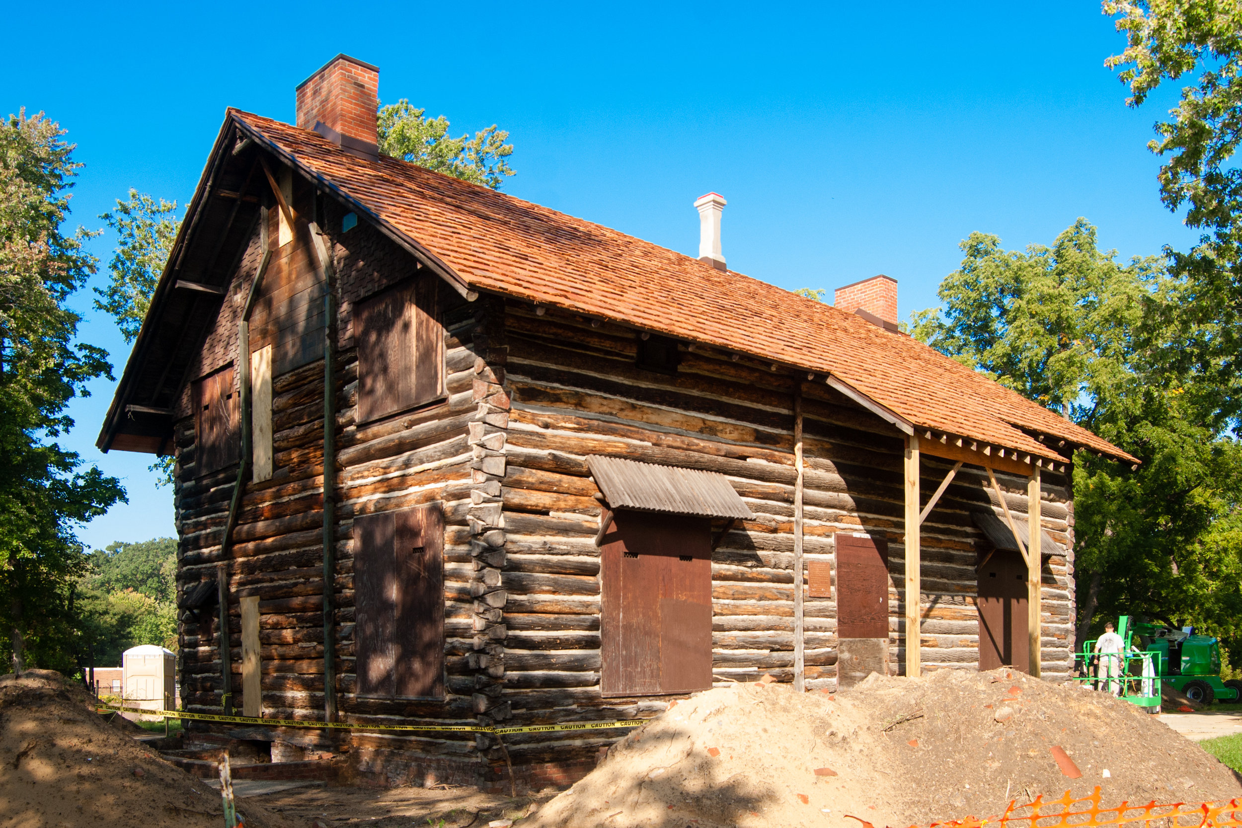 The Palmer Park Log Cabin during Phase One of the restoration work, October 2016.