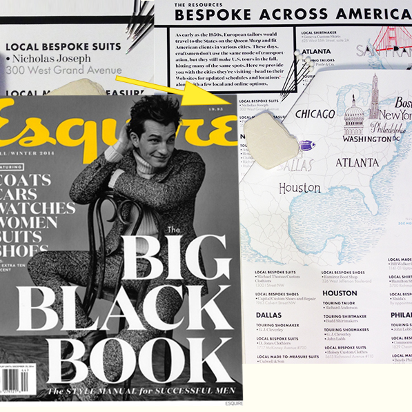 Esquire Big Black Book recommends Nicholas Joseph Bespoke Suits in Chicago