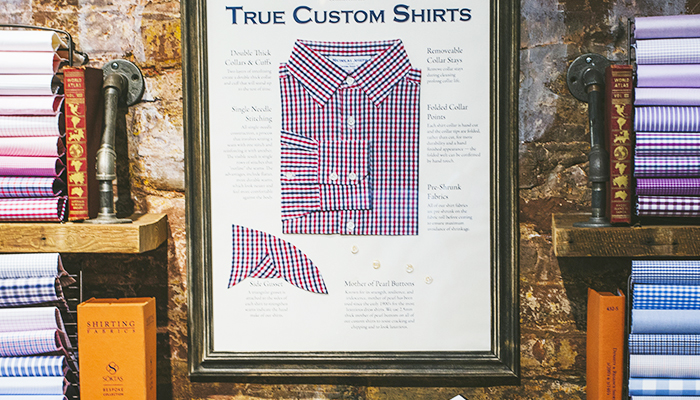 Custom Shirt display at Nicholas Joseph in Chicago