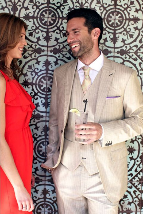 Beach Formal - You should wear a suit or sportcoat and trouser, and opt for light colors that won't attract the sun since it will get hot! Have a pocket square handy to wipe your brow. Your best bet is a custom suit out of a breathable linen, cotton or lightweight wool.TIP: Request your jacket to be half lined on the inside to maximize breathability, it's a game changer.