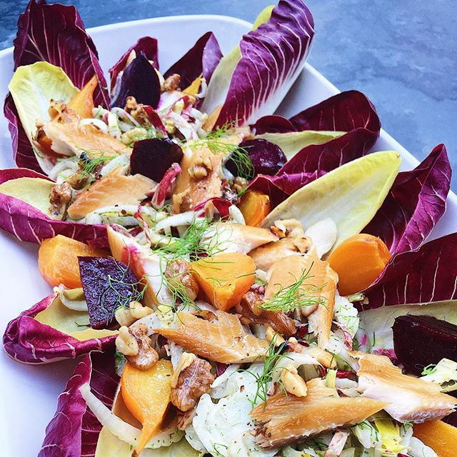 After last weekend's work trip to Texas, where we ate waaay too much food, the only thing that I'm willing to put in my body today is a salad. This endive, roasted beet, shaved fennel and smoked trout salad with walnut vinaigrette is really hitting the spot 🙏🏼 #thecitykitchensf #mymarinkitchen • • • • • #spring #salad #endive #beets #fennel #smokedtrout #walnut #local #farmstand #cooking #feedfeed #f52grams #goopmake #tastingtable #buzzfeast #yum #foodpic #foodporn #beautifulcuisines #huffposttaste #instayum #foodandwine #bghfood #thekitchn #f52farmstand #instafood #foodphotography