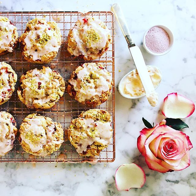 """Strawberry, rhubarb, white chocolate & pistachio scones with sweet rose butter, perfect for your Mother's Day brunch this weekend. This recipe is based on the best scone that I've ever had, when I was hiking with my mom in Southern Utah a few years ago. It was like a little pillow of raspberries and white chocolate, and it was so amazing, I've never forgotten it.  To make these scones extra special,  I bought a beautiful rose sugar from @allstarorganics at the farmers market recently and mixed it into some soft butter to serve on the side. Honestly, they're so good on their own you don't really need the butter. But who cares, right? As my grandmother used to say, """"it's gilding the lily"""". If you can't buy rose sugar, you can easily make some by blending dried organic rose petals with sugar in a food processor. Or you can mix powdered sugar and rose water into soft butter.  And I'm obsessed with the @williamssonoma copper baking rack the scones are resting on. It would make a great Mother's Day gift 🌹  Recipe: on website Link: in profile  #thecitykitchensf #mymarinkitchen • • • • • #spring #scones #keepitseasonal #mothersday #baking #brunch #strawberry #rhubarb #whitechocolate #pistachio #rose #mywilliamssonoma #f52farmstand #feedfeed #f52grams #goopmake #tastingtable #buzzfeast #yum #foodpic #huffposttaste #instayum #foodandwine #bhgfood #thekitchn #sweettooth #instafood #foodphotography"""