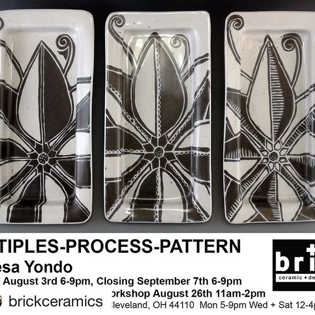 Last chance to buy some of my pots! @brickceramic Opening this Friday 6-9pm #multiplesprocesspattern solo show by @theresayondo with pop up sales in our studio with more of Theresa's works and @matty_p_studio ! 👏🏻👏🏻👏🏻 See you all Friday for Walk All Over Waterloo!