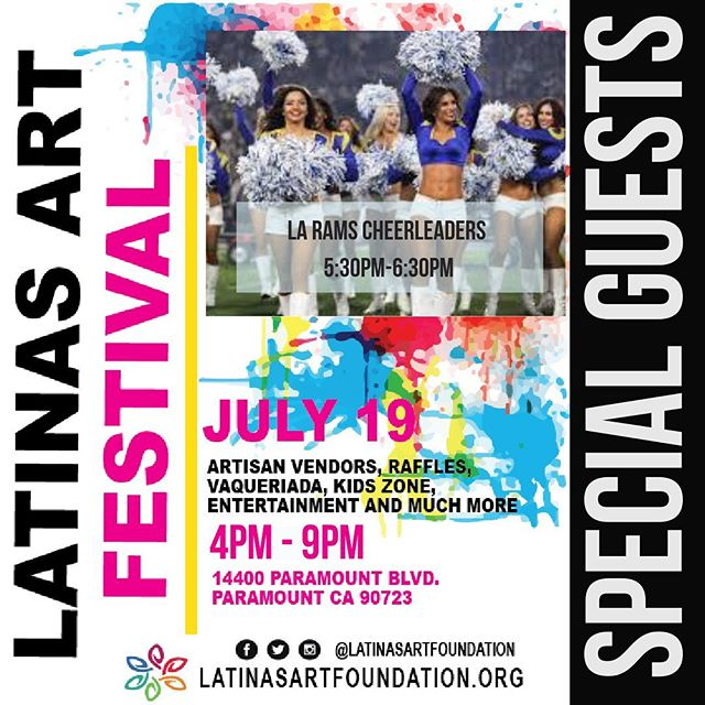 We are excited to have the  LA RAMS CHEERLEADERS coming to the #latinasartfestival from 5:30pm-6:30pm to sign autographs and take pictures with all of you! 🏈  #laramscheer #larams #losangeles #cityofparamount