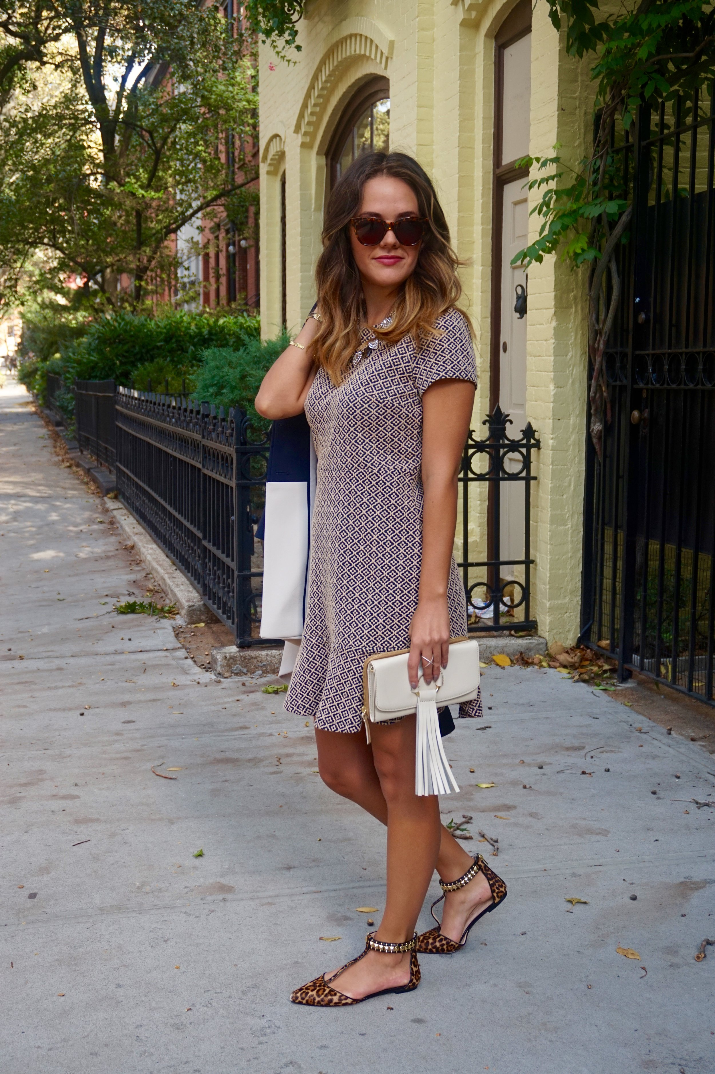 Fall career wear inspiration, two-tone jacket, fit and flare dress