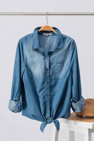 Denim Front Knot Button Up - Regular price $24.9940% off $15