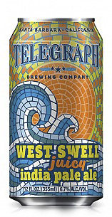 West Swell IPA - New England-Style IPAABV: 6.7% OG - 15.8 P / 1.065Brewers NotesWhen a West Swell comes to the Santa Barbara coast it changes everything, bringing big surf and new opportunities for adventure. With this beer we are creating change too and helping to further the evolution of the West Coast IPA. It's a little hazy, VERY JUICY and full of that soulful, unrestrained approach to the California lifestyle.