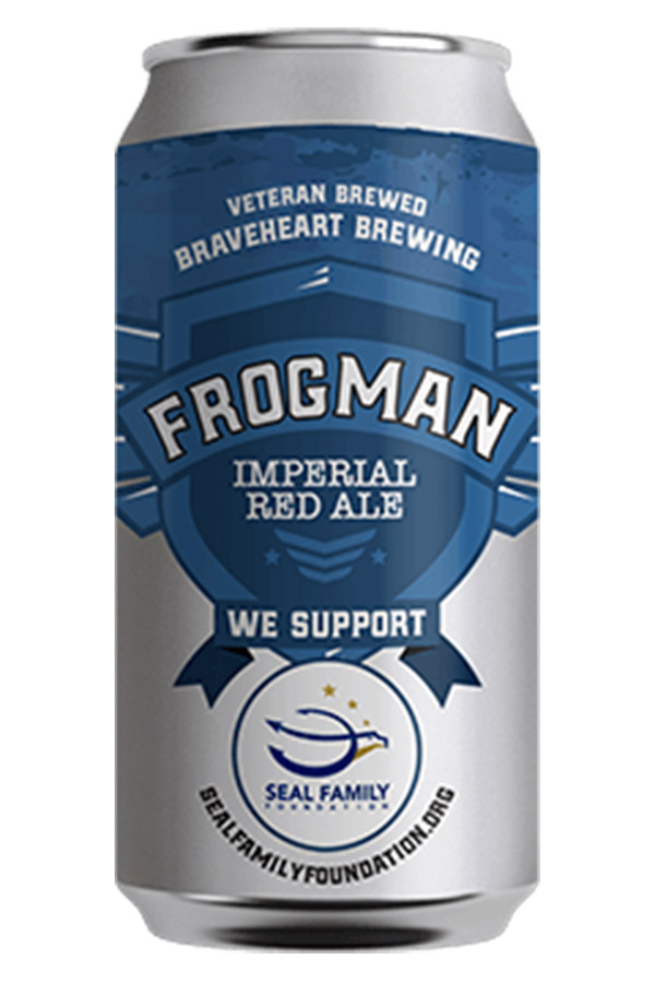 Frogman - An American Red IPA with a serious malt backbone from a judicious use of Crystal 60 and Crystal 75 malt. The distinctive, citrusy aroma comes from Centennial and Ahtanums hops. At 7.5 ABV, 49 IBUs, this is no lightweight beer. We are proud to honor the SEAL Family Foundation & all those who serve.