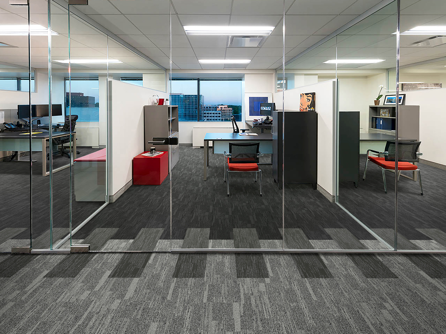 Mesa colors coordinate to facilitate the creative floor installations.