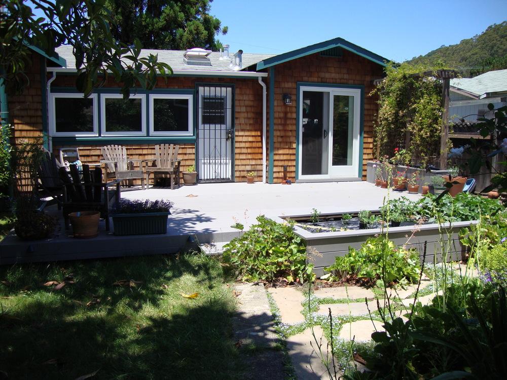 Sarah's backyard garden and deck