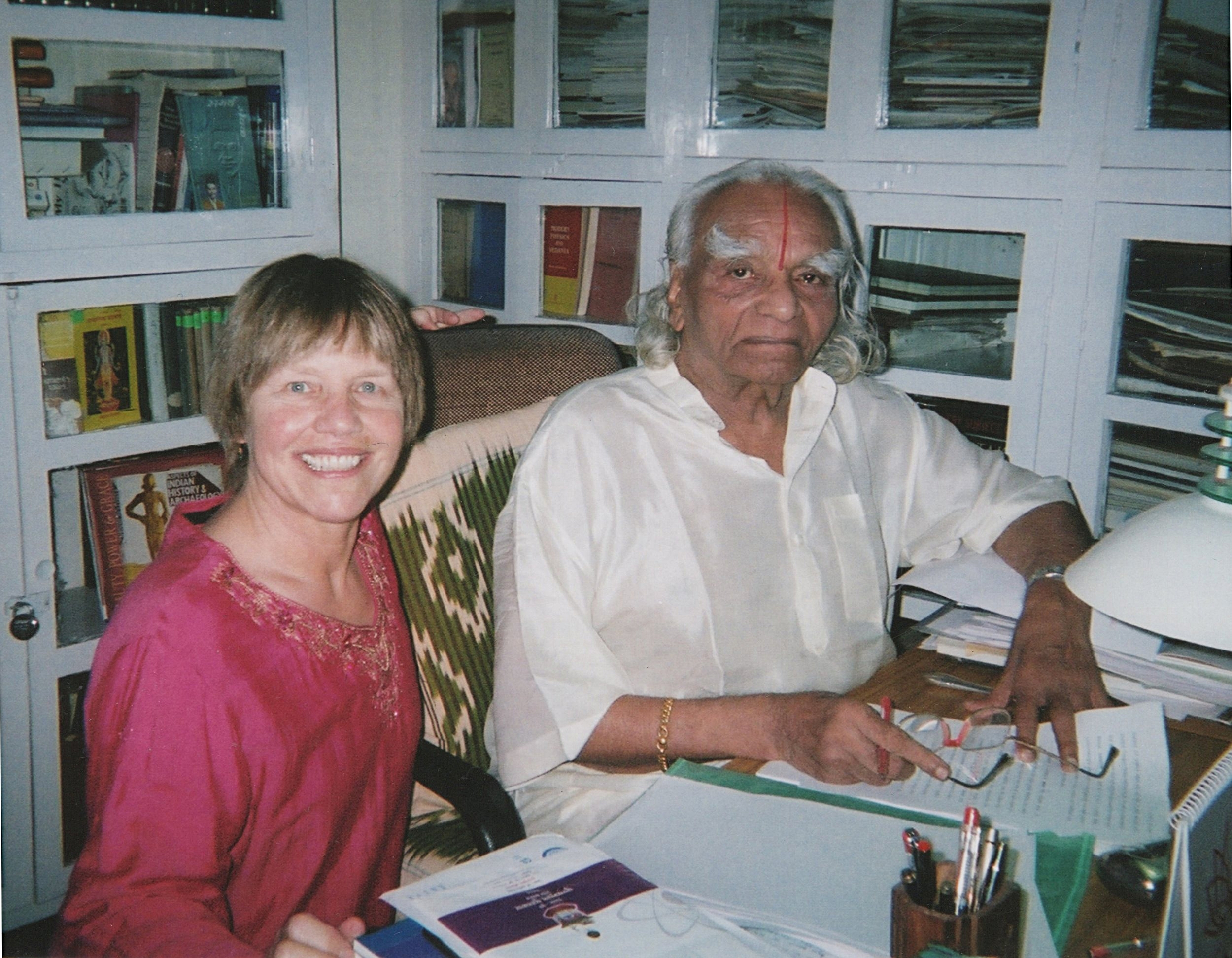 Sarah and B.K.S.Iyengar in his office at the Institute in Pune, India