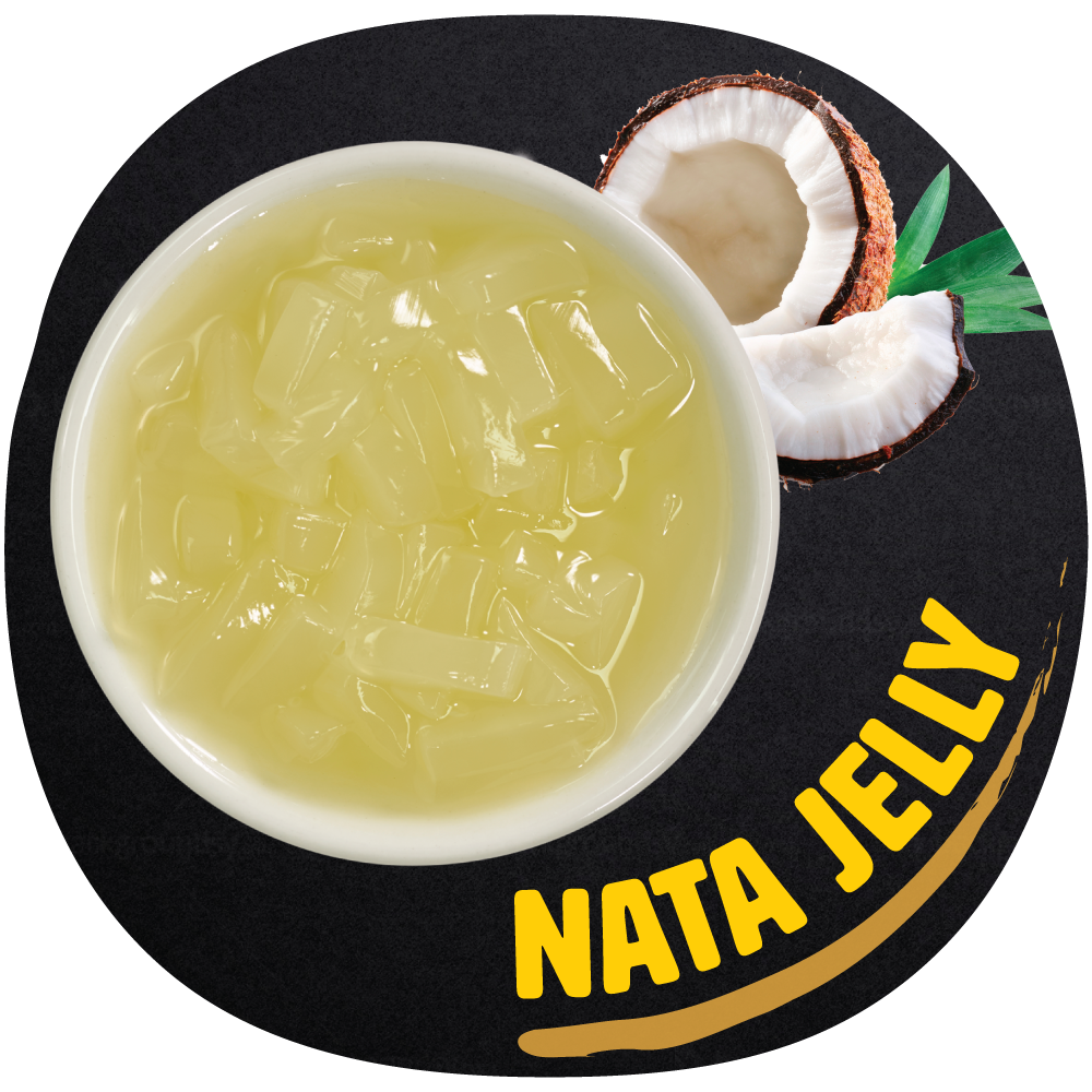 NATA JELLY   Made with coconut pulp and pineapple flavoring, Nata Jelly is a great way to add some tropical flavor to your tea!  It has a solid and chewy texture, with a burst of sweetness.