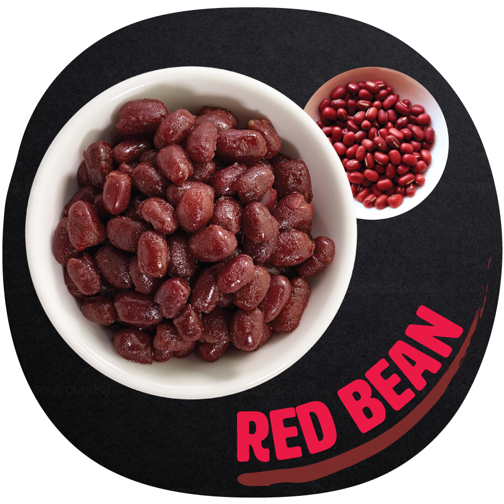 RED BEAN   Red bean, also known as adzuki bean, is a topping made from dried red beans and sugar.  The flavor can be described as sweet, creamy and earthy. It has a slight granulated texture and is high in fiber.