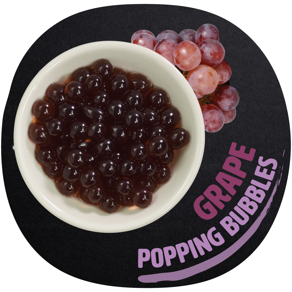 Grape Popping Bubbles   Unlike our tapioca based chewy bubbles, our popping bubbles burst juice in your mouth for a sweet splash of flavor. Popping bubble has a thin, gel-like skin with fresh juice inside that bursts when squeezed. Bring bold grape flavor to your favorite drinks with our grape flavored popping bubbles. Filled with sweet and sour, tantalizing juice, these bubbles pop on your tongue to deliver a refreshing taste. Treat yourself to the essence of delicious grapes by adding them to your drinks.