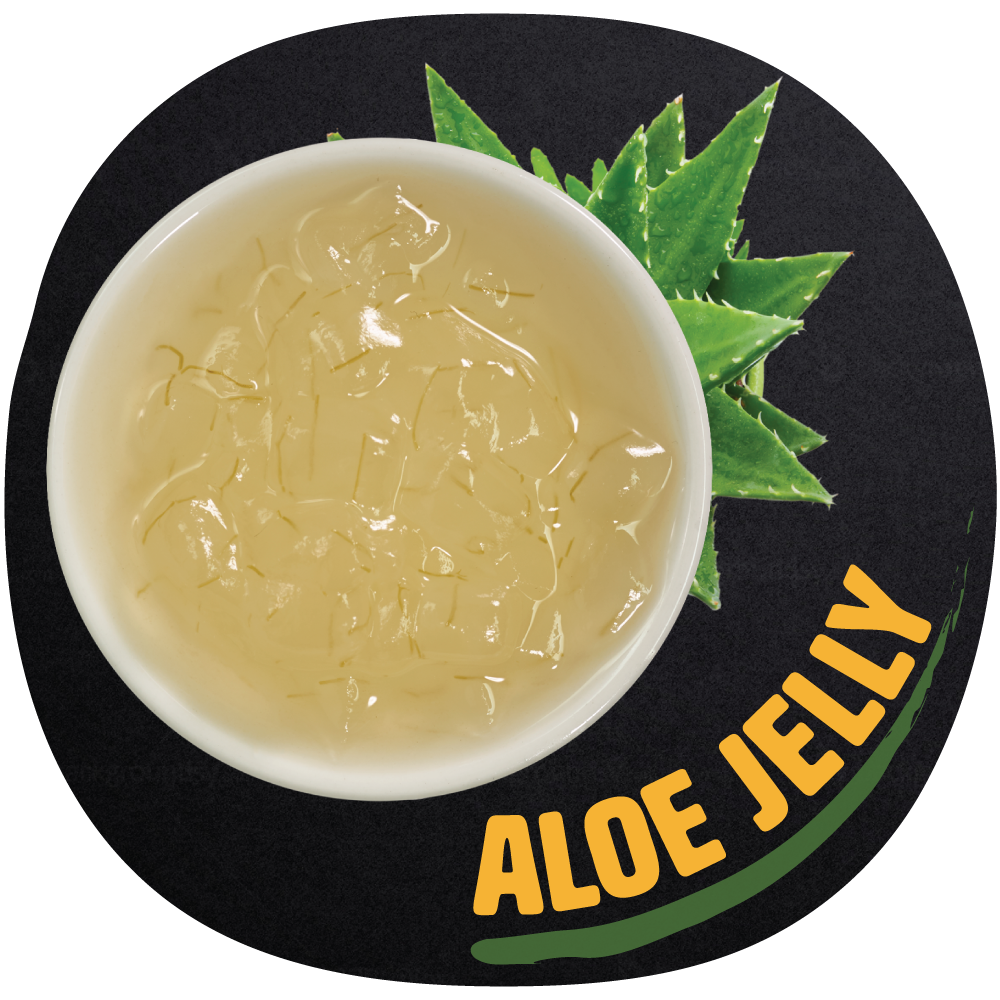 Aloe Jelly   An assorted aloe flavored jelly cubes that can be added to any drink to boost the flavor of your tea to next level. Aloe Jelly contains rich natural nutrients and fiber which is beneficial for you internal body.