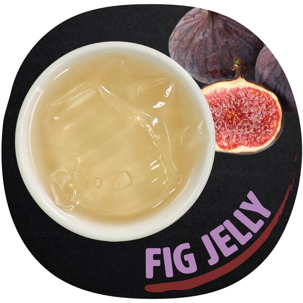 FIG Jelly   A traditional Taiwanese dessert that's super popular during the summertime. Figs are high in fiber and a good source of several essential minerals. This refreshing jelly is made from the seeds of a dried fig fruit and water.