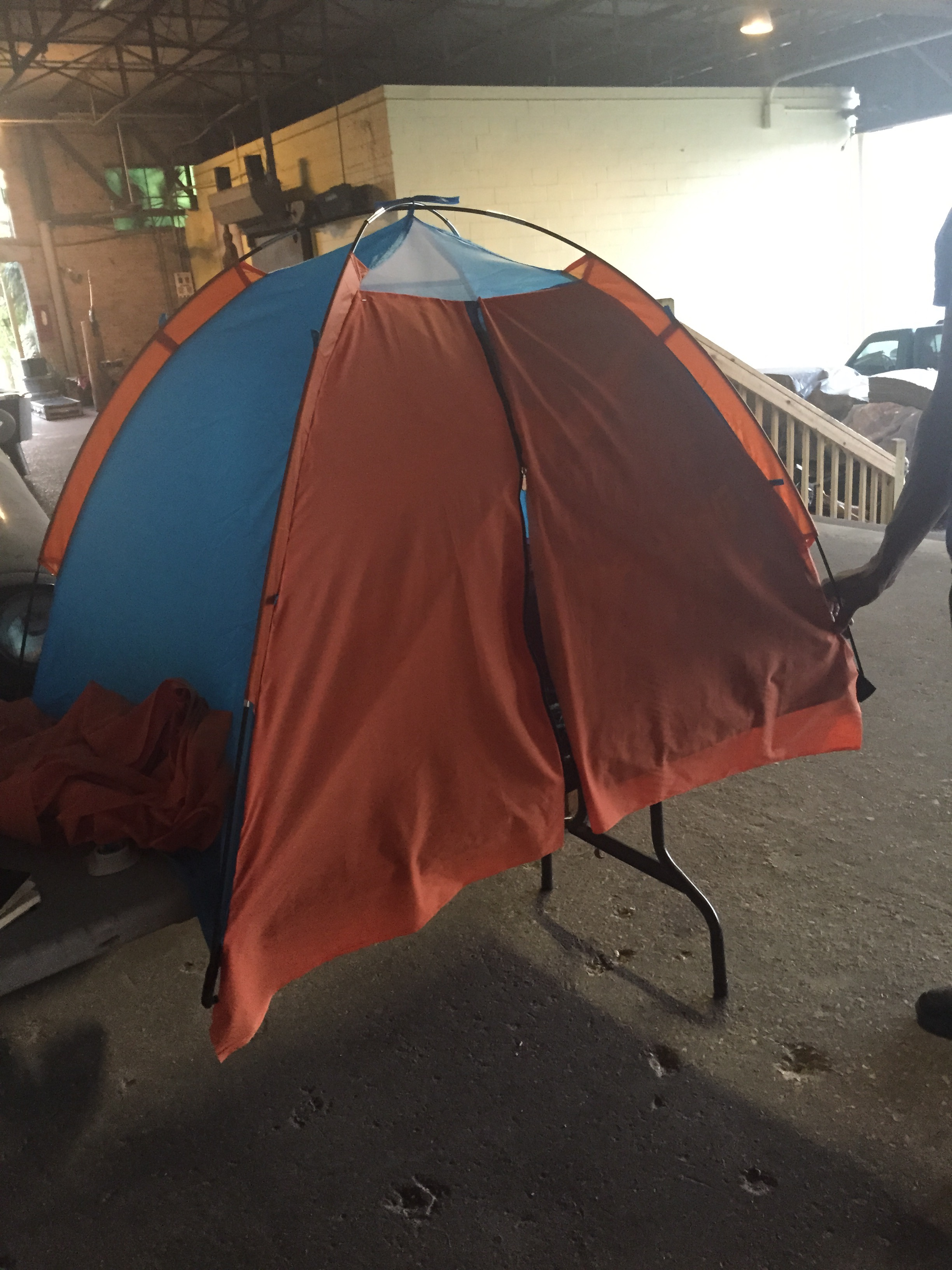 I covered the front of a kid's tent.