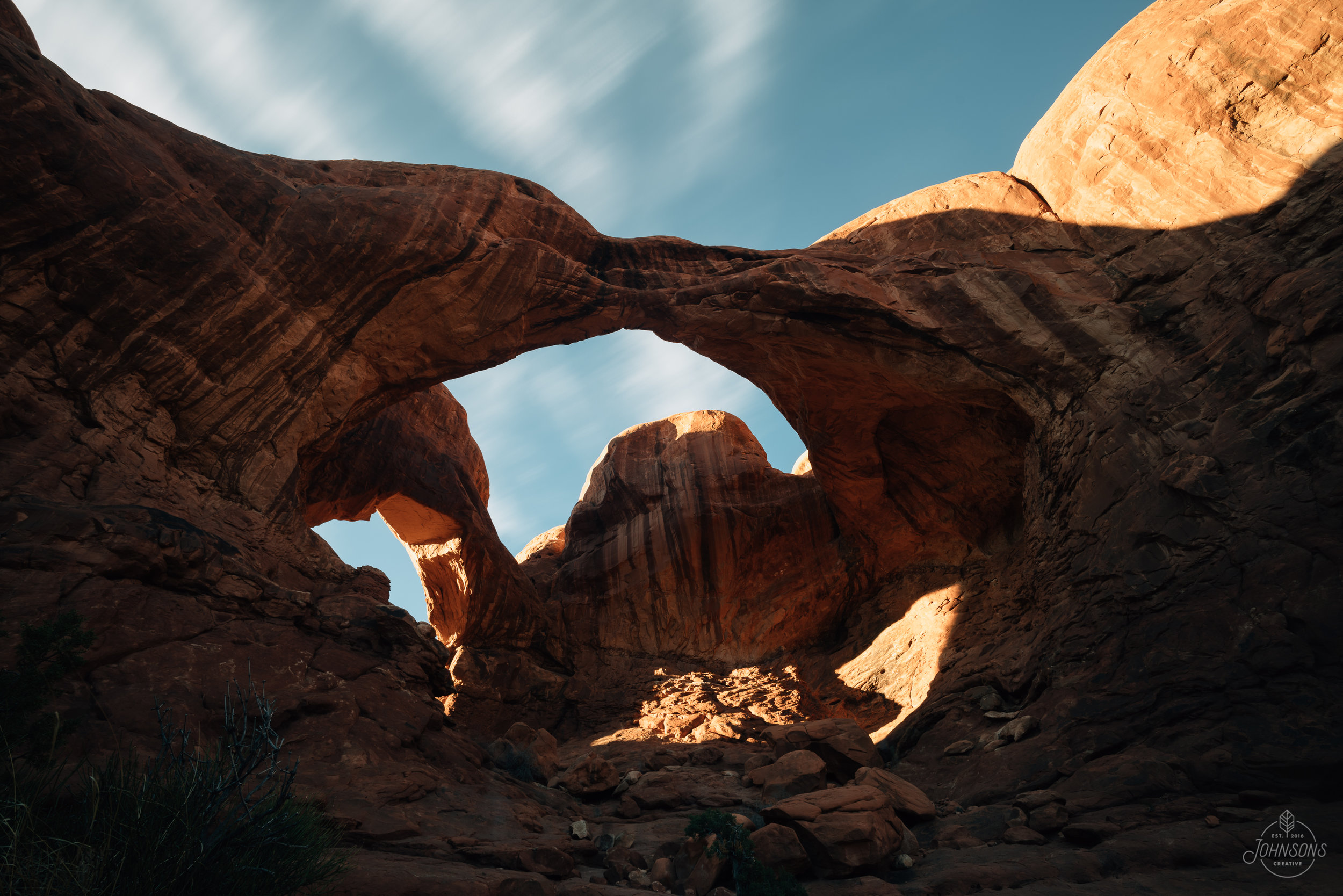Sony a7rii |15mm 4.5 |f10 | .5 sec |ISO 50 | Smooth Reflection Sony App    Double Arch. One of the well known arches (pretty much all that we saw were), only a 5 minute walk from the parking lot. It would be a cool location for astrophotographers.