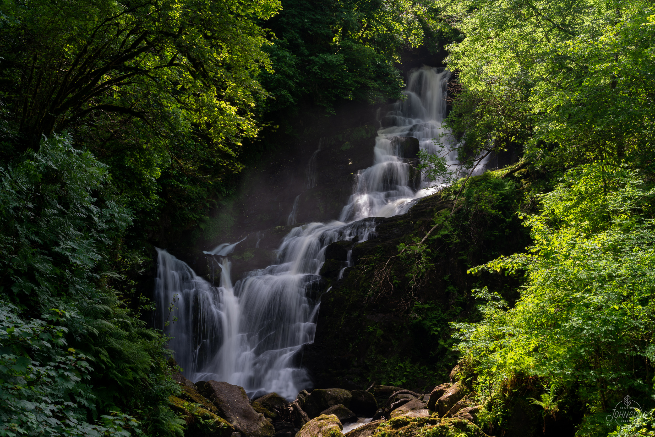 Sony a7rii | 55mm 1.8 | f11 | .25 sec | ISO 50 | Lee Circular Polarizing Filter    Killarney National Park is probably a 2-3 day size of park that we did in 1.    There is some good history (Ross Castle), insane gardens, and obviously great views.    This is Torc Waterfall. It was a 5 minute walk up to here, but there's a loop that you can continue on for anywhere from 30 minutes to 2 hours.