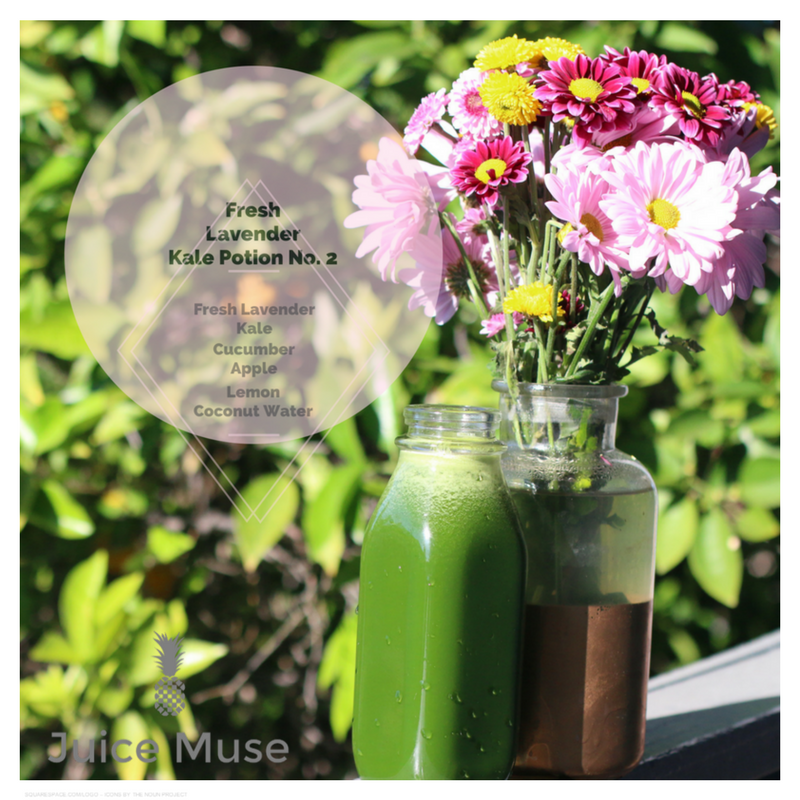 Fresh Lavender Kale Potion No. 2    This recipe requires fresh lavender. If you do not have access to the plant. you can substitute with 2 drops of lavender essential oil. This juice is designed to stimulate your senses and refresh you for a productive day.🎉🎉    1 oz of Fresh Lavender (store sealed juice with lavender for up to 2 hours for best results)    1 bundle of kale    1 cucumber    2 apples    1 lemon    1 cup of coconut water    Process these ingredients with a juicer.