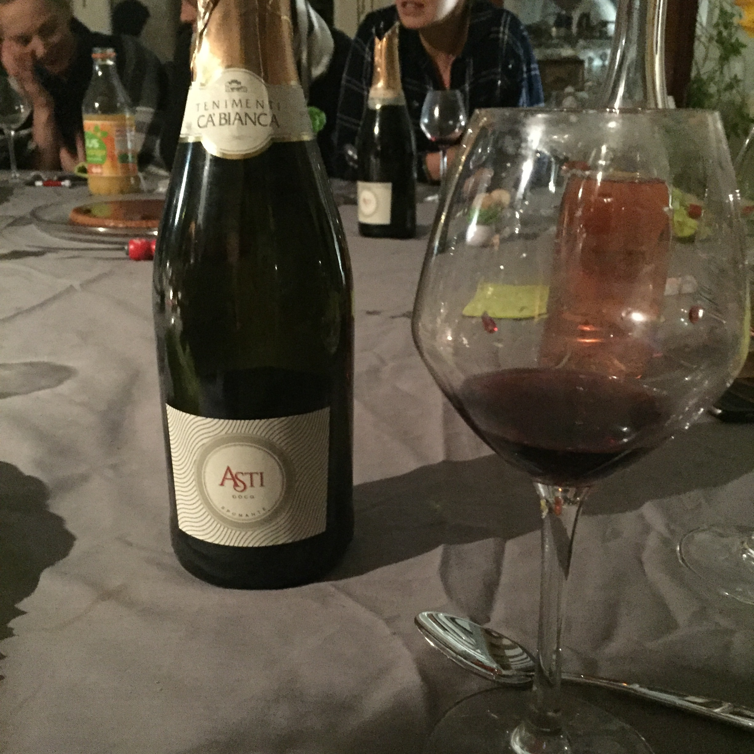 Wine at dinner. Was not a fan of the red wine, but the Asti was pretty tasty!