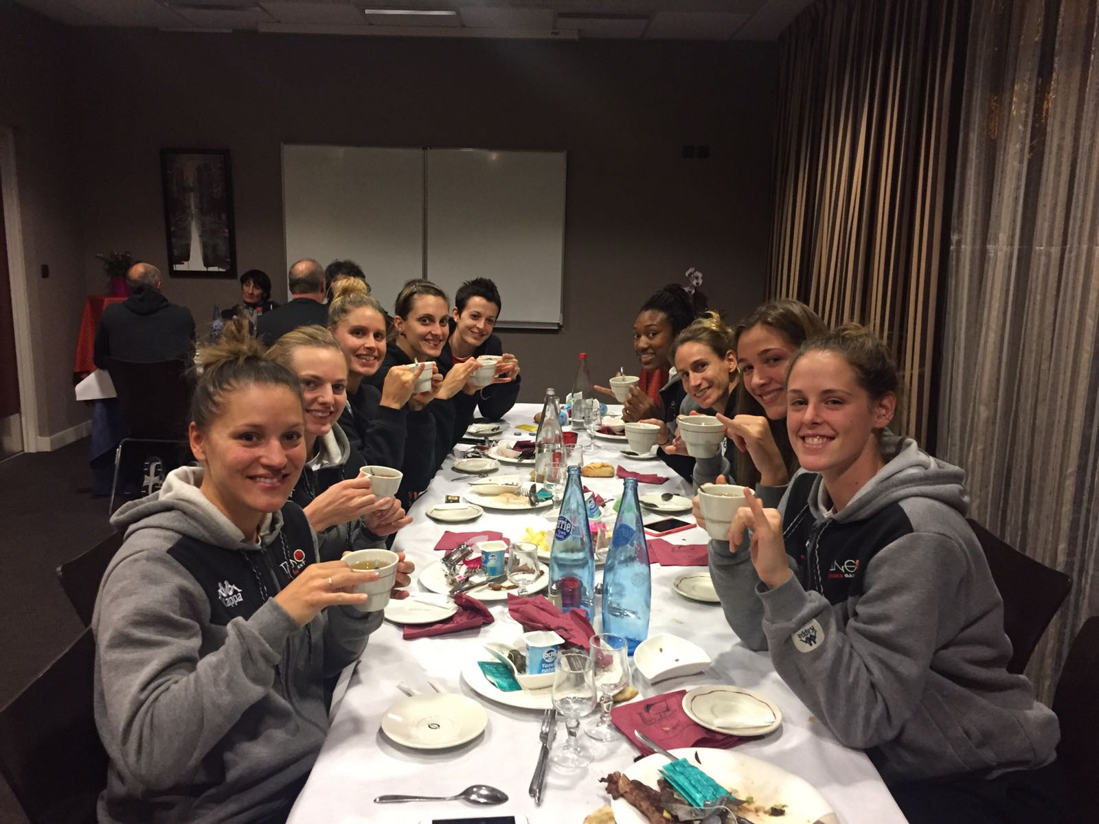 Tea time with my teammates!