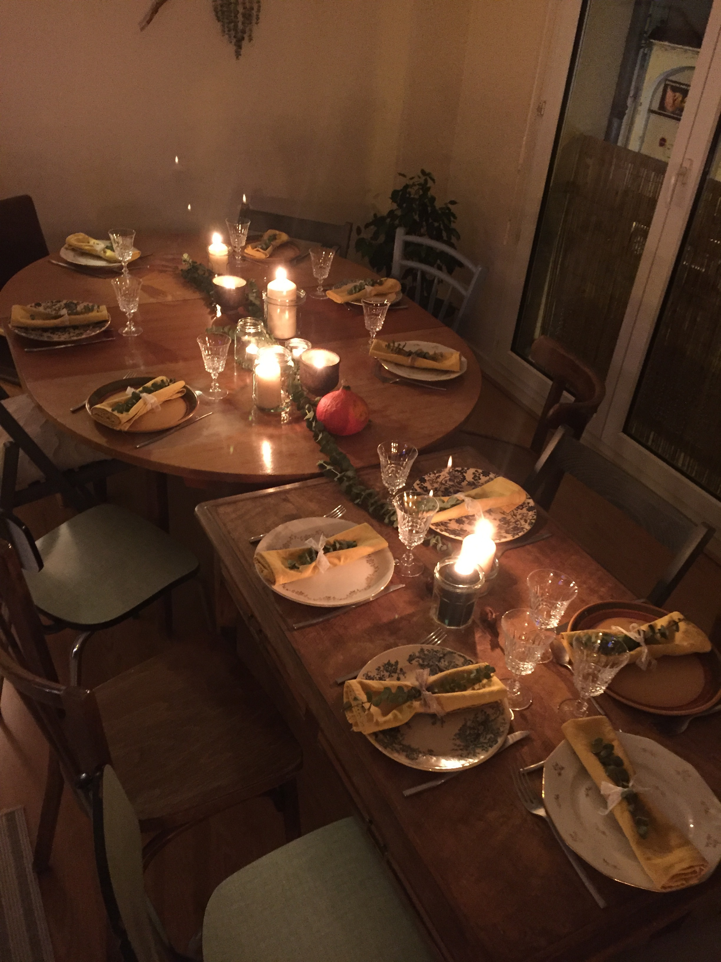 A beautifully set thanksgiving dinner table!