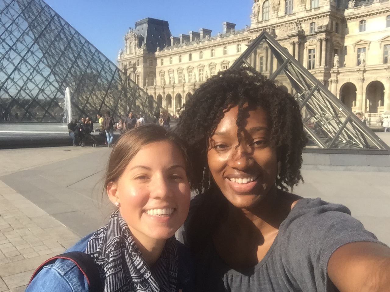 Outside the louvre with my friend from back home, Kayla!