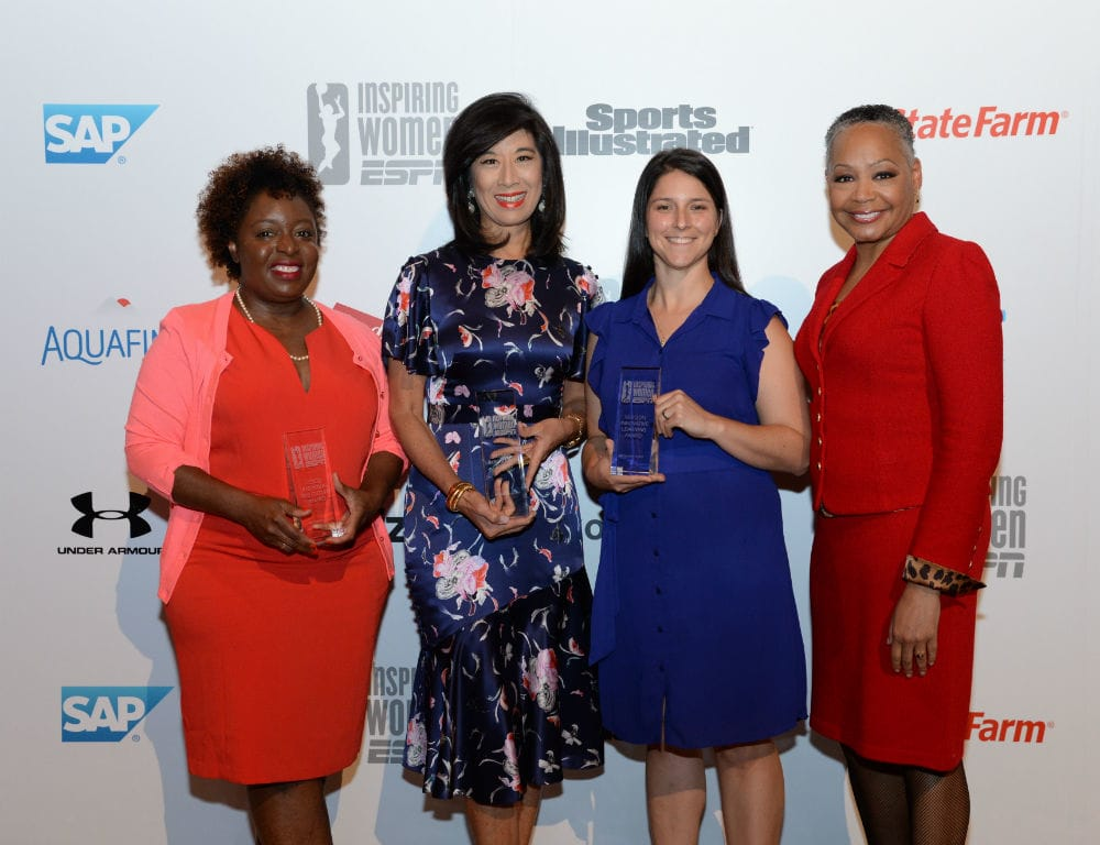 Award winners from left to right: Kimberly Bryant, Andrea Jung, Kayla Canario and WNBA president Lisa Borders.