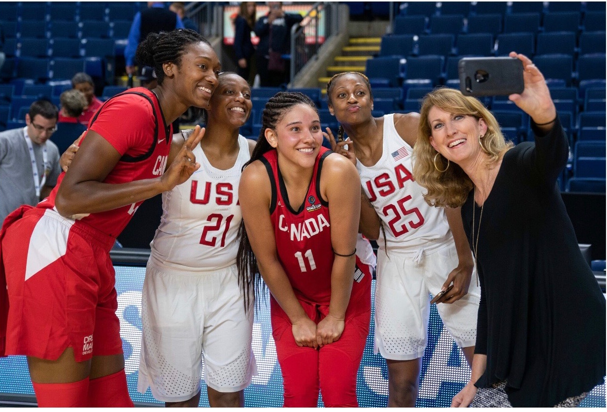 Teammates! Members of the Indiana Fever representing their country. From left to right: Me, Kelsey Mitchell, Natalie Achonwa, Tiffany Mitchell, and Debbie Antonelli.