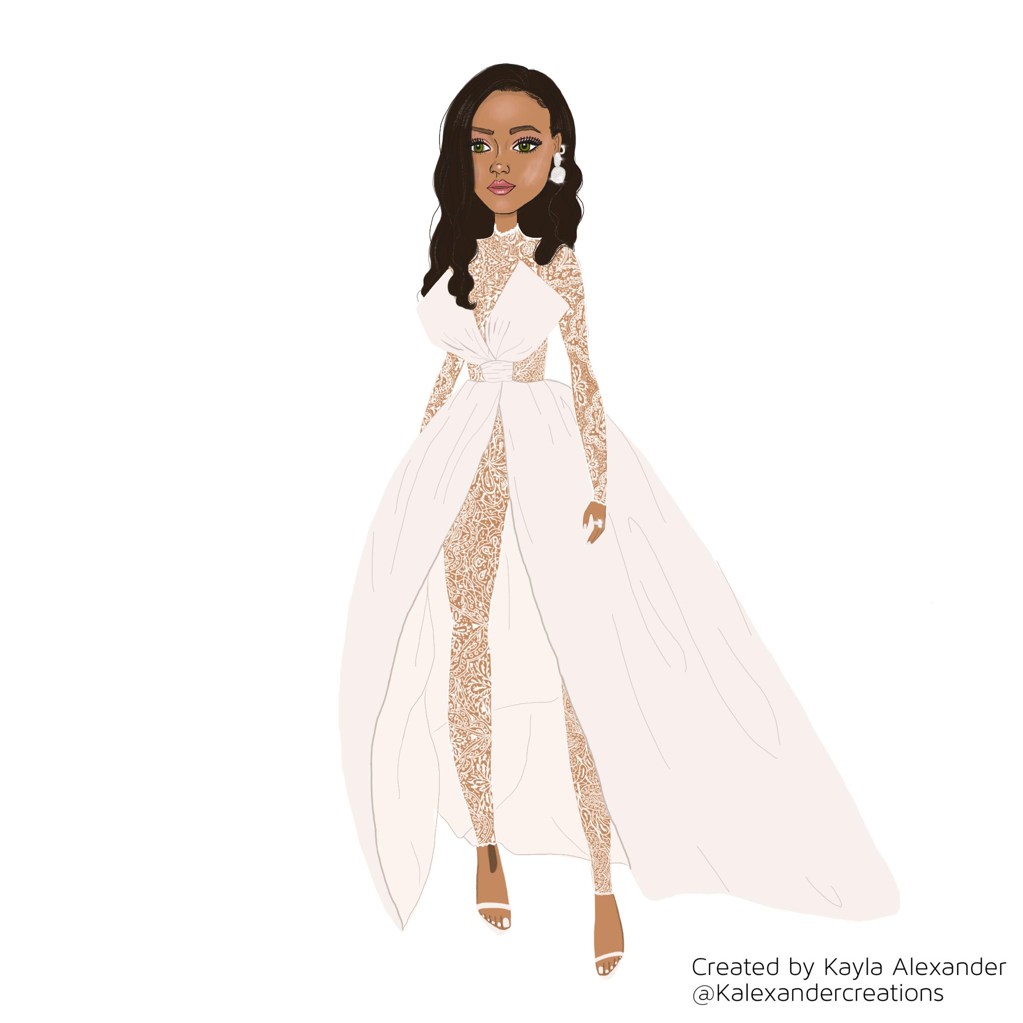 Illustration of Rihanna at her annual Diamond Ball created with Procreate app on iPad Pro.