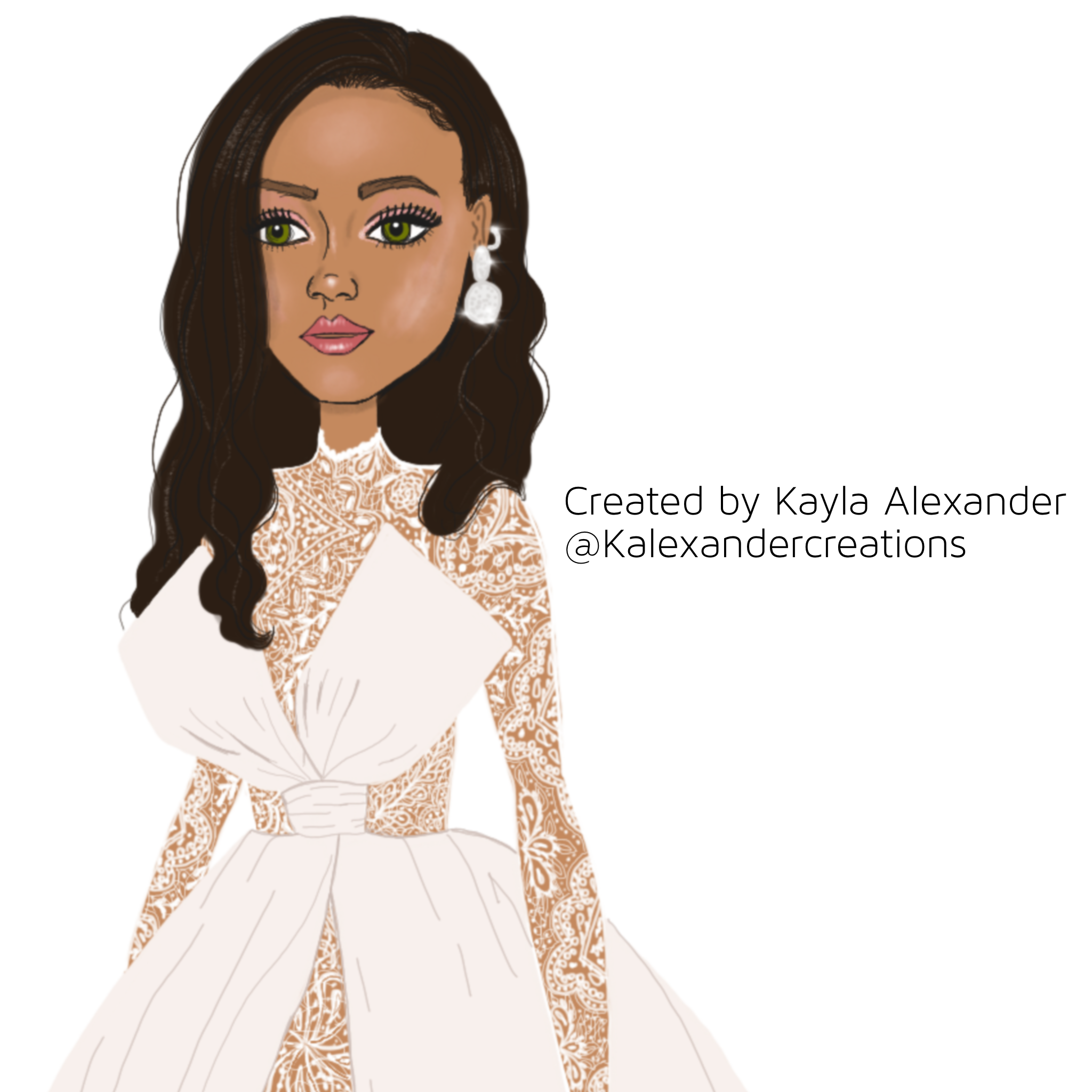 Close up of my illustration created on Procreate app on iPad Pro.