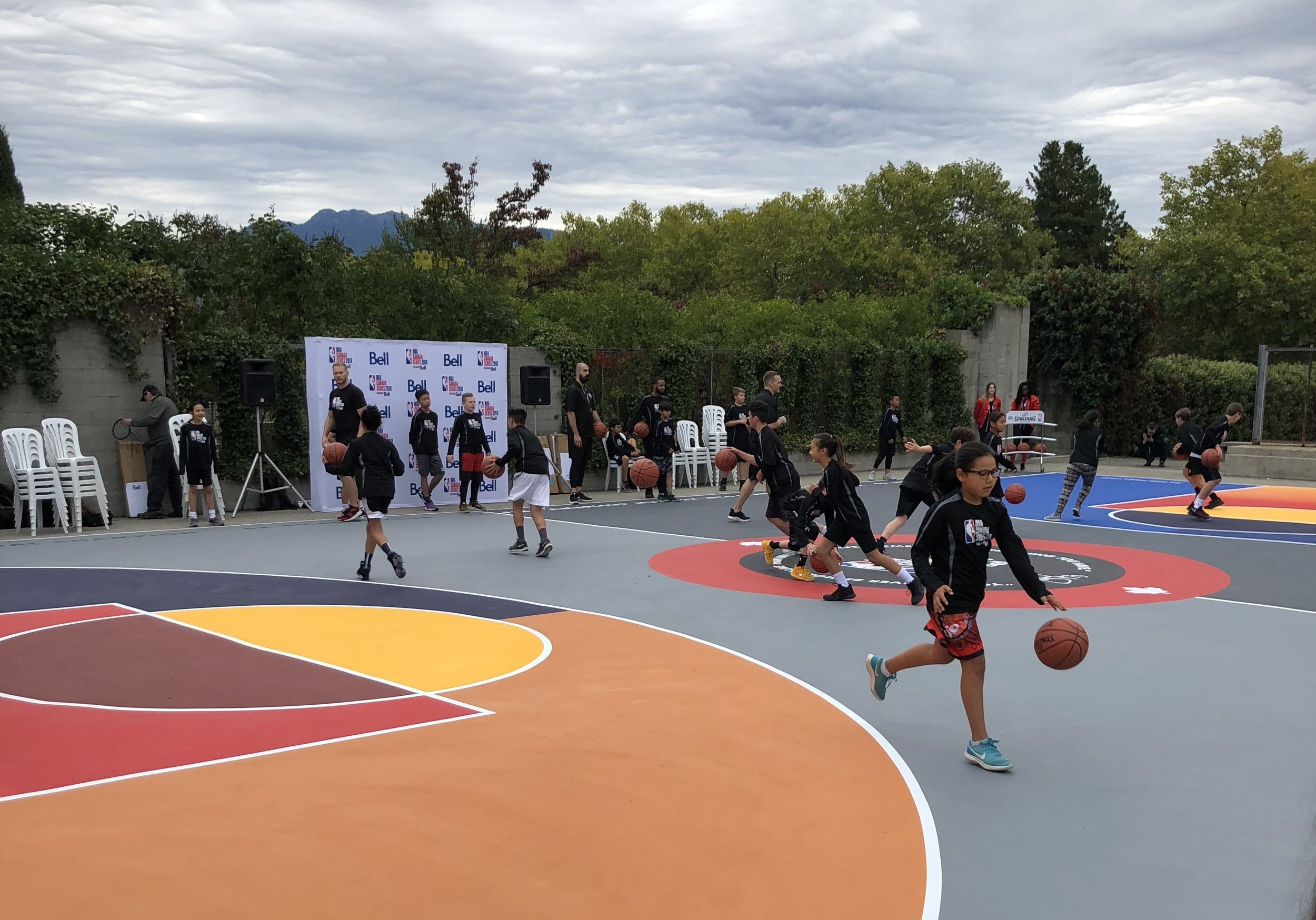 Skills clinic. Working on ball handling with a partner.