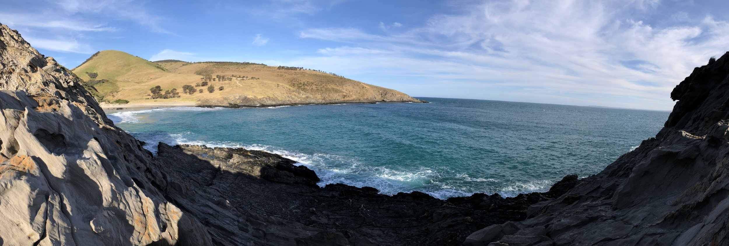 View from the rock mountain on the secluded beach (I was too chicken to climb to the top).
