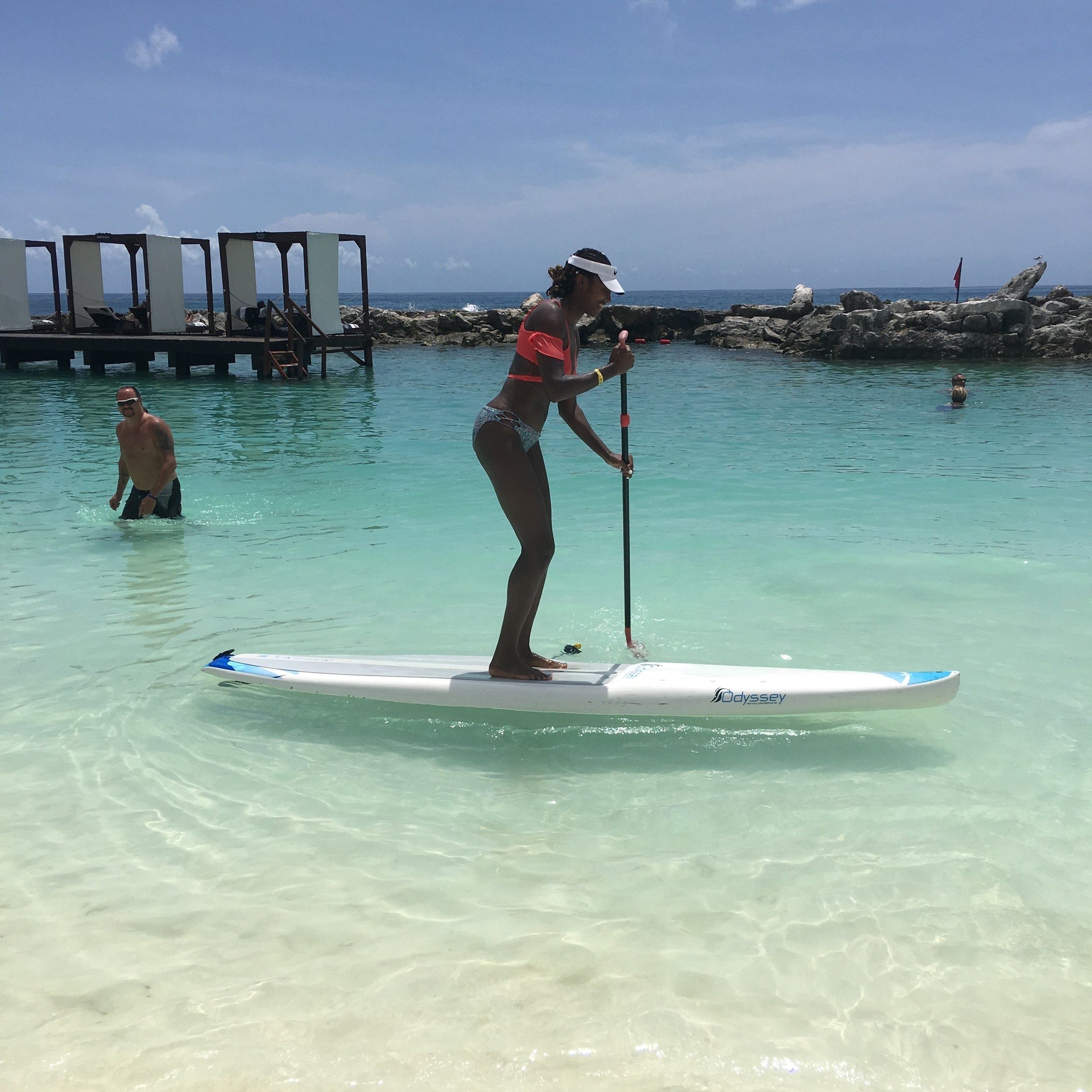 Trying paddle boarding for the first time! Fun, once you figure out the balance part!