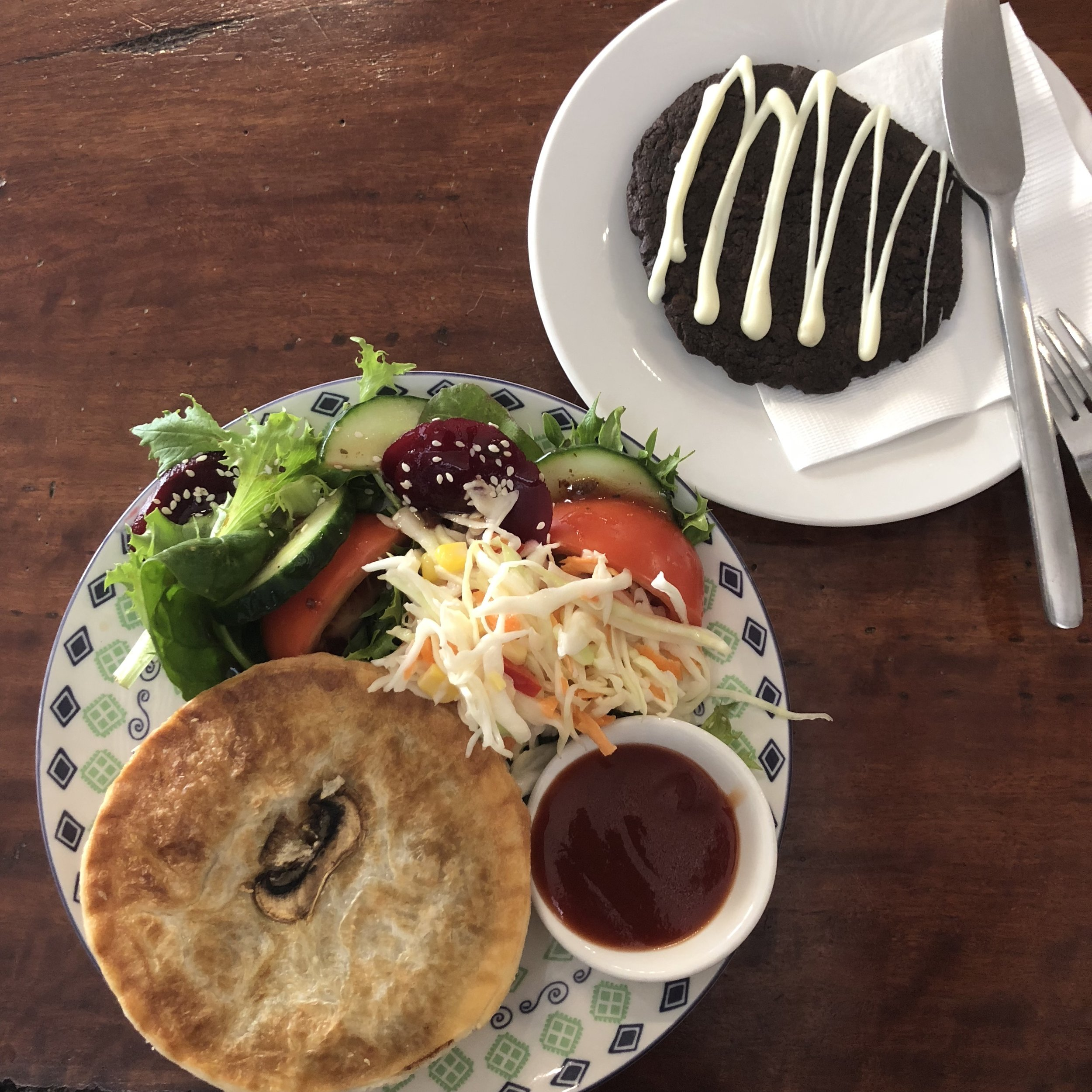 Brunch; Steak and mushroom meat pie, salad and in true Kayla fashion, a cookie!