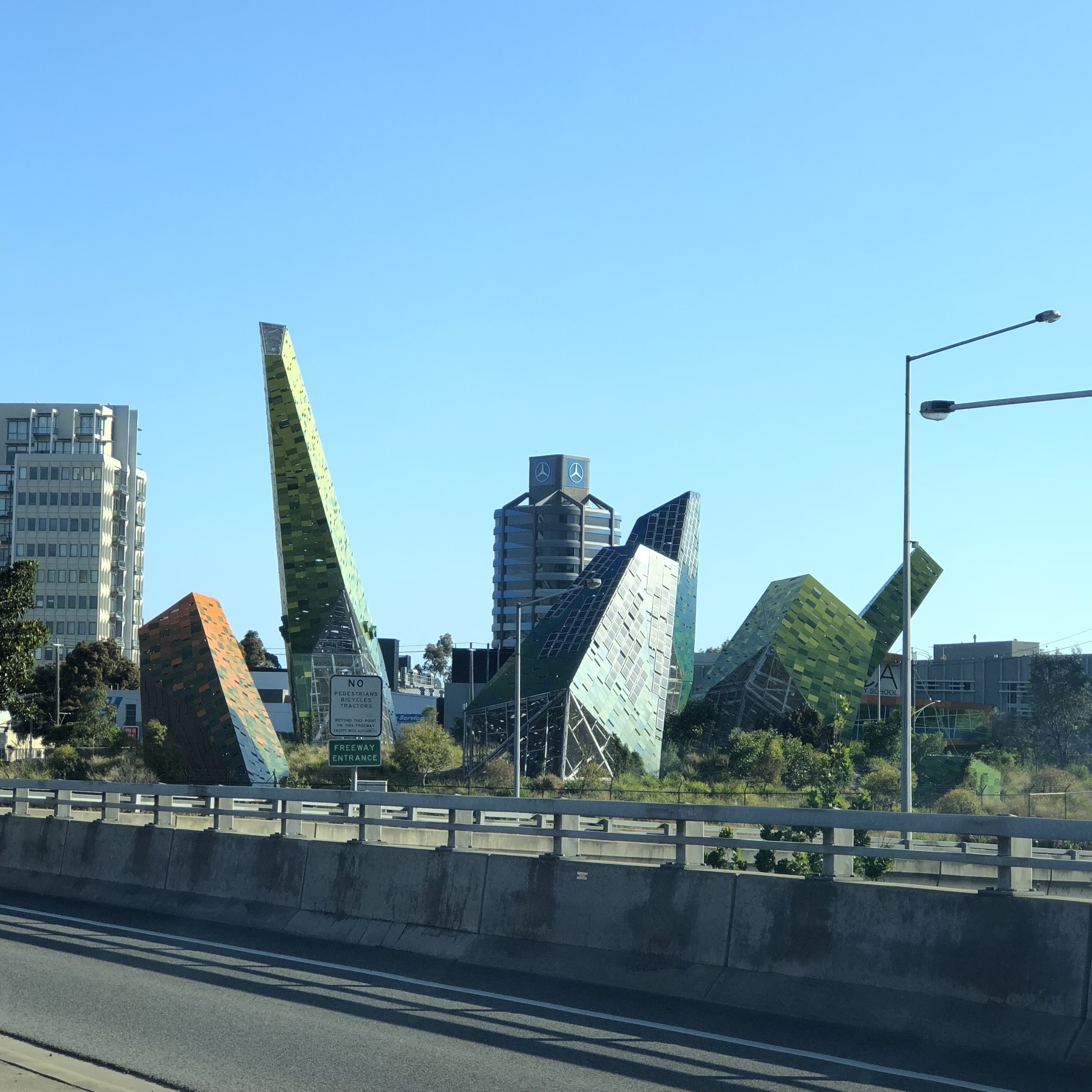 View driving down Domain Tunnel.