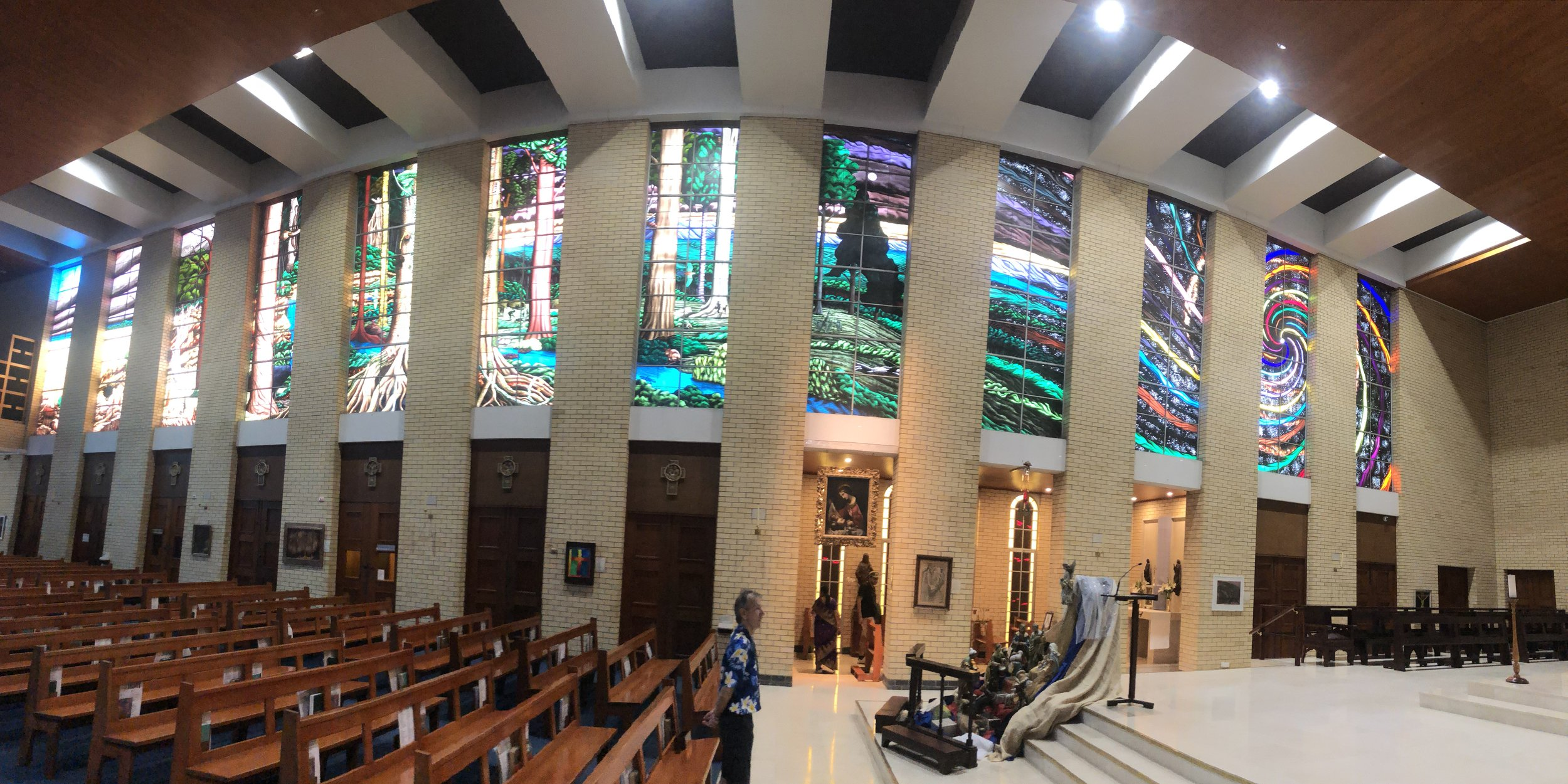 The second part of the creation story. The stained glass windows are a sight in person!