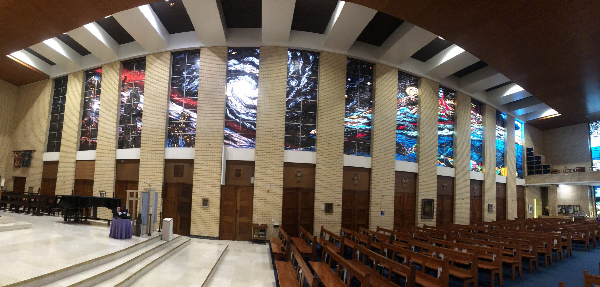 Views inside St. Monica Cathedral, first half of the creation story.