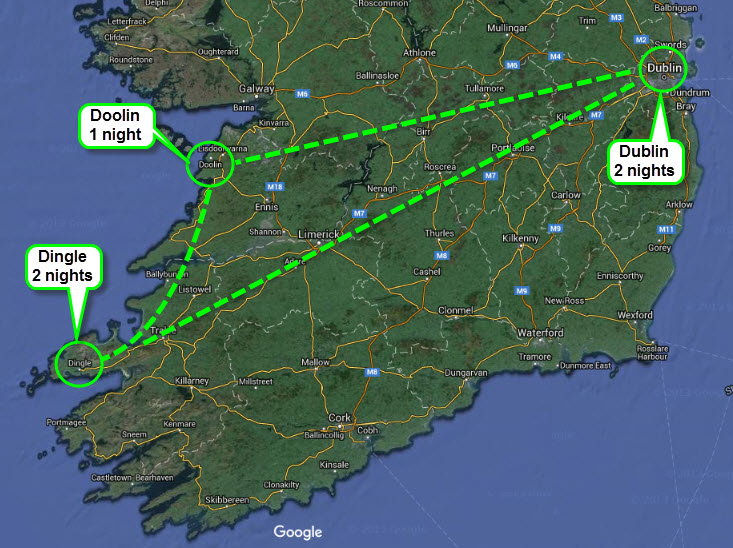 ***Flight in and out of Dublin - dashed line represents travel route by car