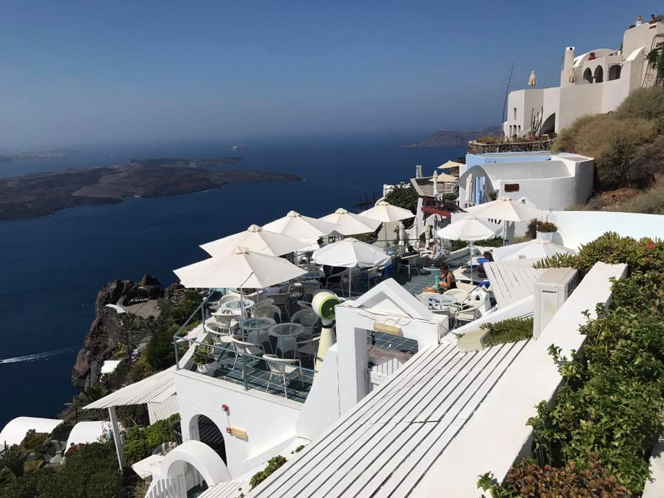 Our view from our terrace at Zenith Blue hotel in the town of Imerovigli, on the Greek island of Santorini
