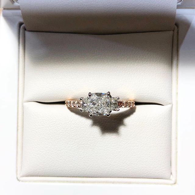 Sheer Elegance 💫 ——————— #sallyrosewhitelabel #cushioncut #trilogyring #diamondring #rosegold