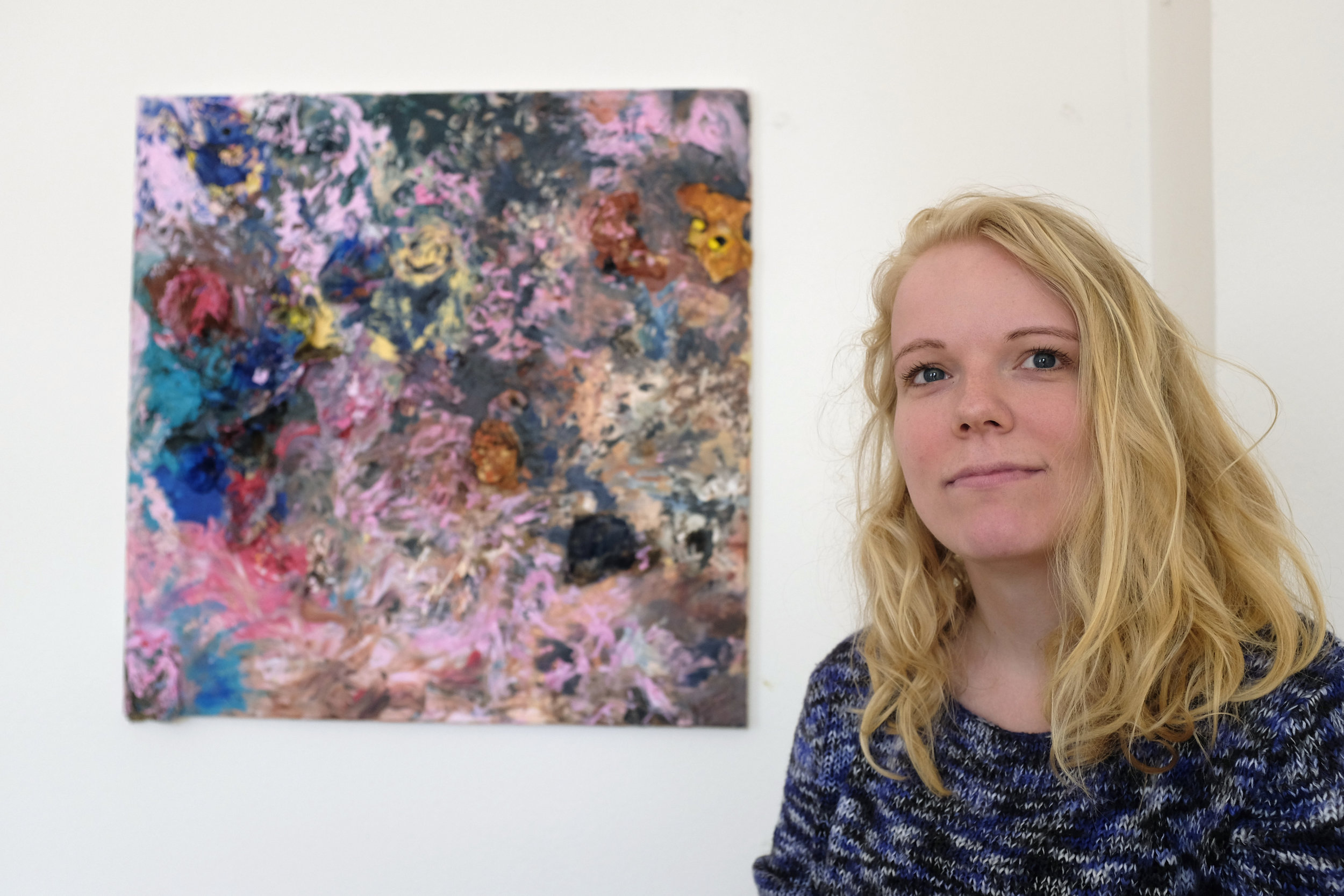 Valgerdur Yr Magnudottir   The power of color relationships plays a center role in Valgerður's practice. Her works explore the gestural and organic possibilities of industrial materials to create abstract formations.   More