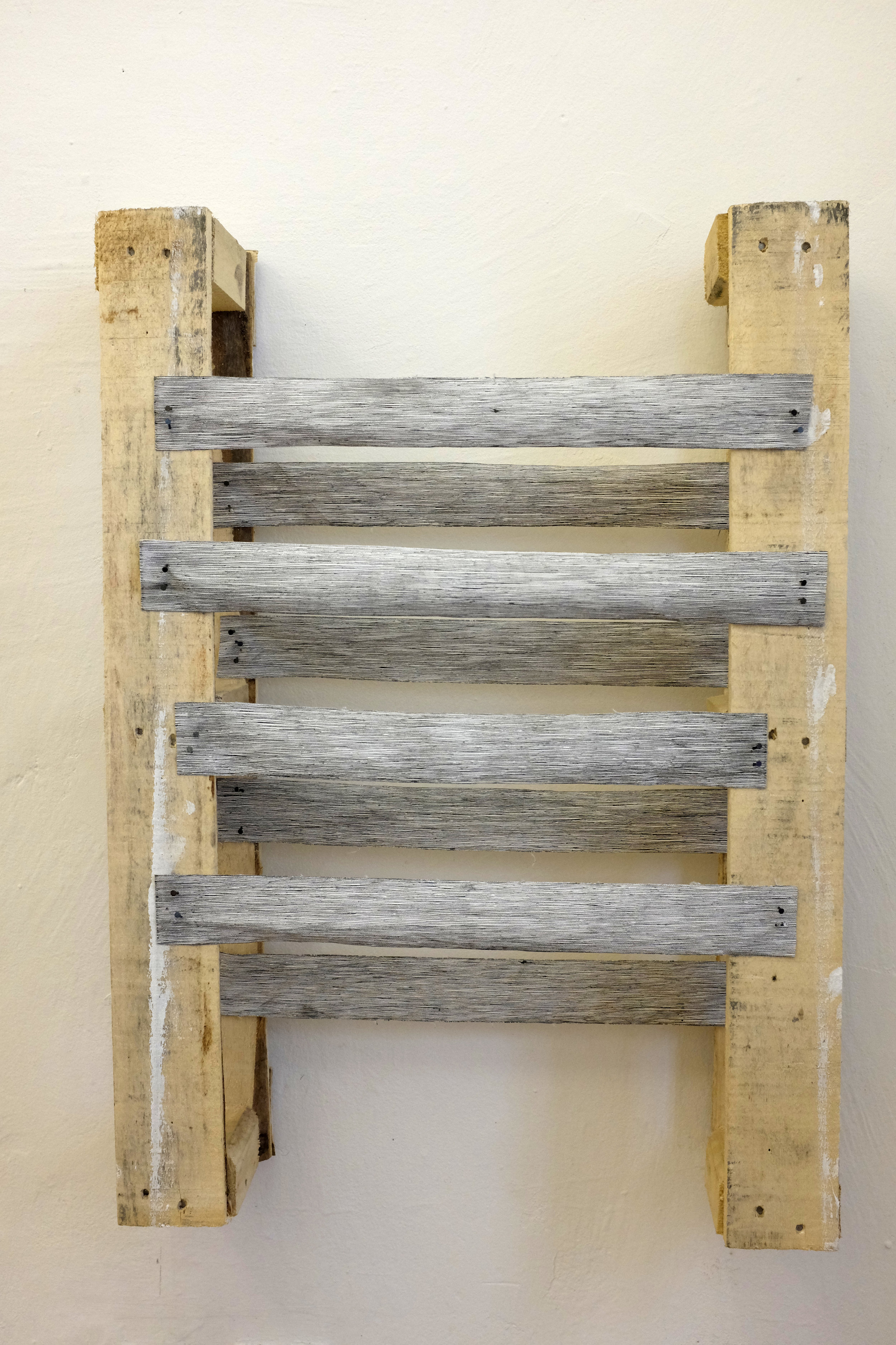A decrepit ladder or a decrepit's ladder,  2018. Ink on canvas, nails, screws and wood. Exhibited at Horánkszy 27 pop-up gallery in Budapest.